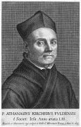 Athanasius Kircher: Portrait of A.Kircher at age 53 from Mundus Subterraneus (1664) (1995). Photographer: archive
