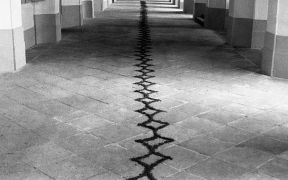 Petr Kvíčala: Ornaments — sand, textile (1993). Photographer: Daniel Šperl